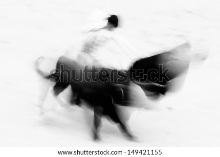 Bullfigting in bullring Las Ventas, Madrid, Spain. Artistic abstract black and white image. - stock photo