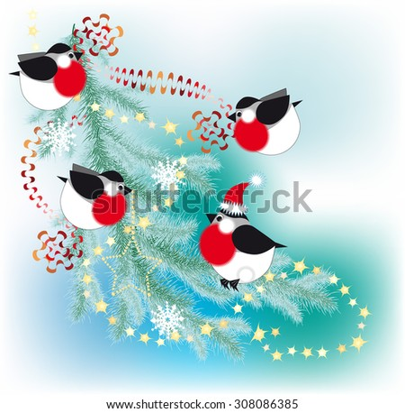 Bullfinch decorate a Christmas tree with garlands and serpentine - stock photo