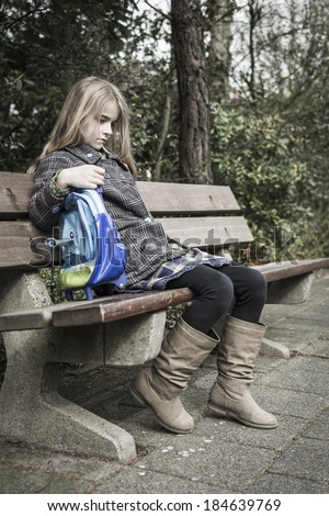 Bullied girl after school, no friends - stock photo