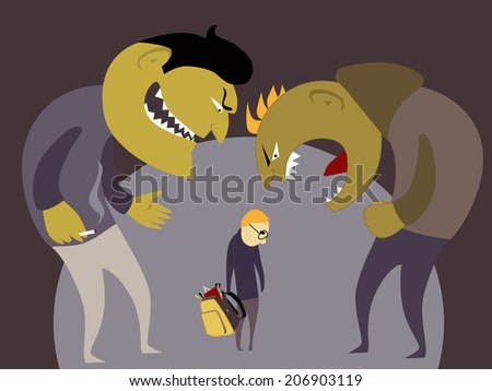 Bullies and a kid - stock photo