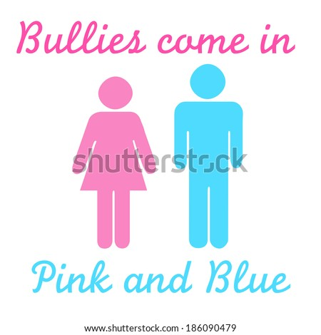 bullies pink and blue figures illustration on white - stock photo