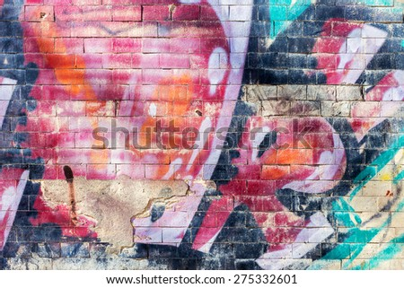 Bullies stained facade of the old building, requires urgent repairs. Landscape style. Grungy concrete surface, windows with bars. Great background or texture. - stock photo