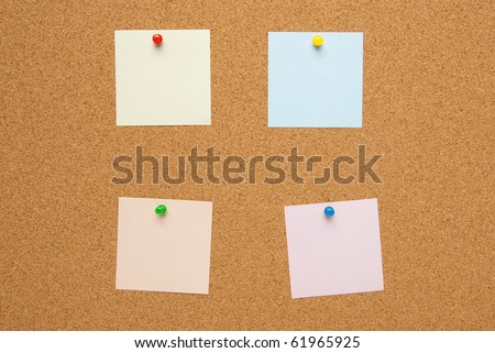 Bullletin board (corkboard) with color memo cards.