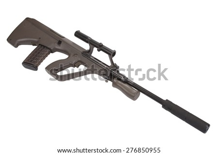 bullpup assault rifle isolated on white - stock photo