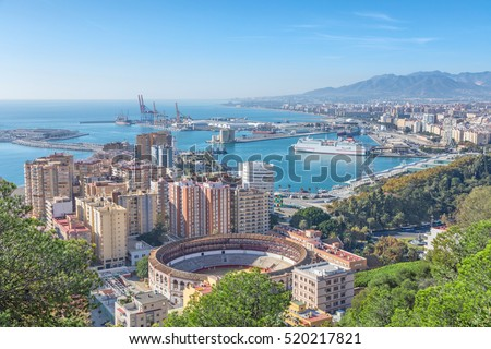 Bullring arena and port in Malaga, Andalusia, Spain