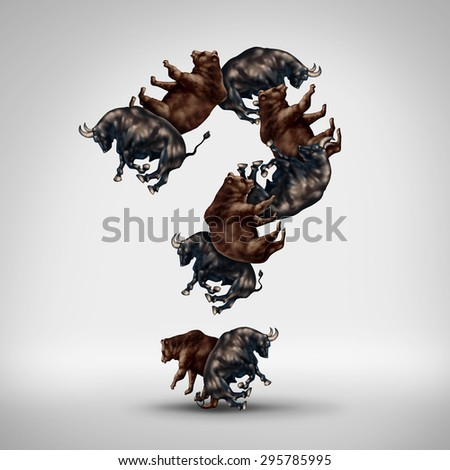 Bulls and bears questions with a stock market bull and bear shaped as a question mark as a financial investing concept of greed versus fear and a trading symbol for investor mood and forecasting. - stock photo
