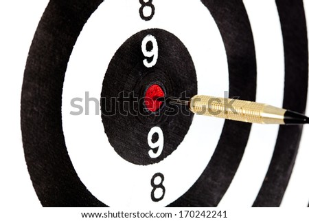 Bulls eye target with dart on white background