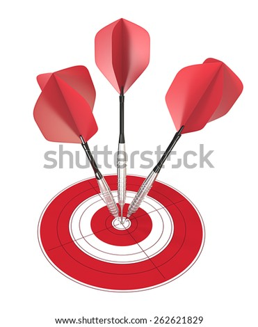 Bullseye. 3 red dart arrows hitting center of target. - stock photo