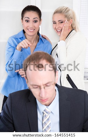 Bullying at workplace - woman and her boss. - stock photo