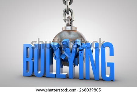 Bullying text being destroyed by wrecking ball  - stock photo