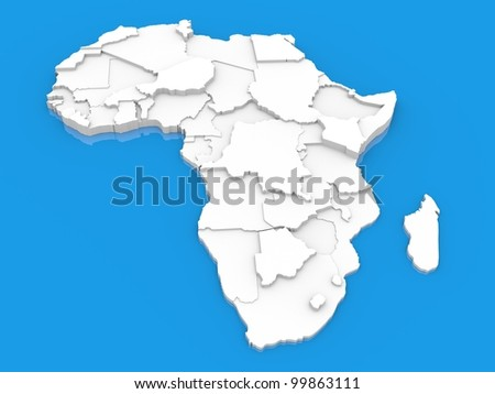 bump map of Africa - stock photo