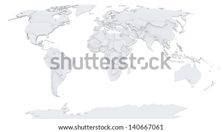 Bump Map of world - stock photo