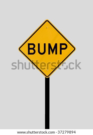 bump warning sign - stock photo