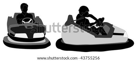 Bumper car silhouettes - stock photo