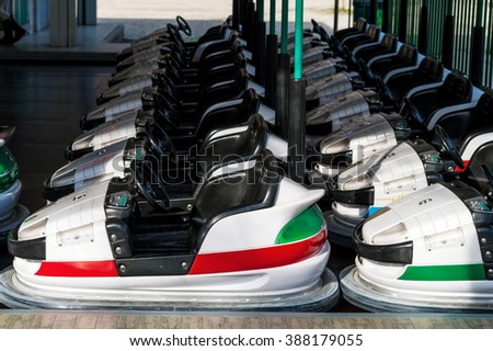bumper cars in an amusement park - stock photo