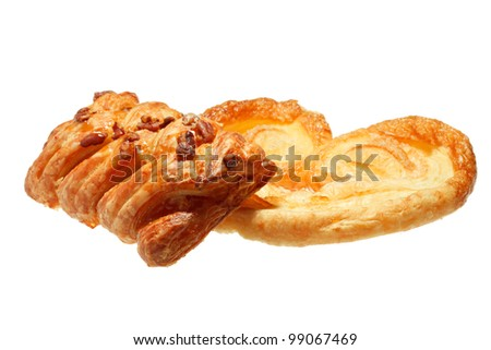 bun and danish pastry isolated on white - stock photo