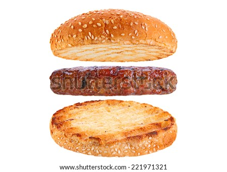 Bun and pork patty ingredient hamburger isolated on white background