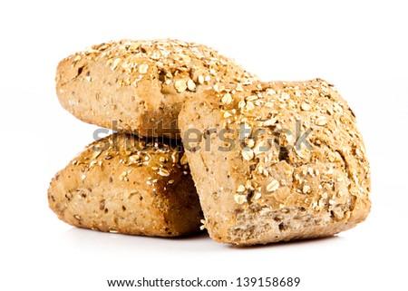 bun bread isolated on white background - stock photo