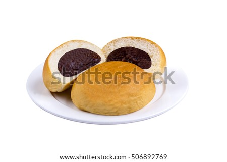 bun bread with red bean jam on isolated background