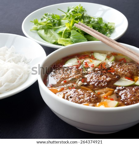 Bun Cha, a Northern Vietnamese specialty.  - stock photo