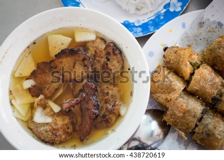 Bun cha, grilled pork rice noodles and herbs, vietnamese cuisine. Us President, Obama used to try this food in Ha Noi when visiting Vietnamese Capital in 2016. - stock photo