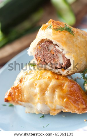 Bun filled with minced meat - stock photo