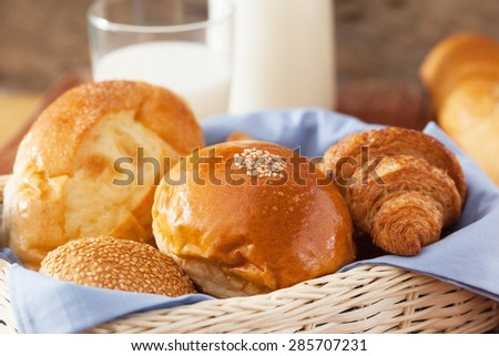 bun in basket close up - stock photo