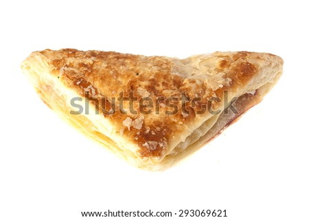 Bun with apple filling isolated on a white background - stock photo