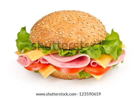 bun with ham, cheese and tomato isolated on white background