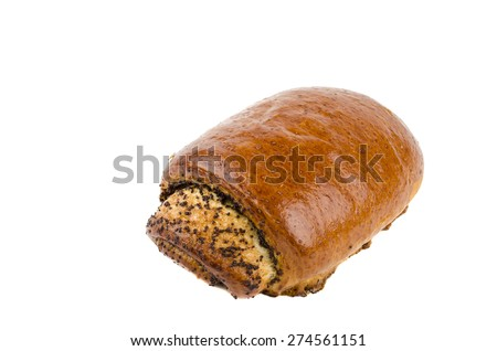 bun with poppy seeds - stock photo