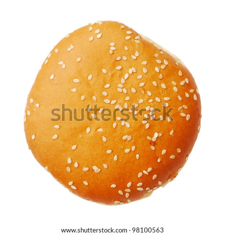Bun with sesame isolated on white background, top view - stock photo