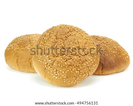 Bun with sesame on a white background
