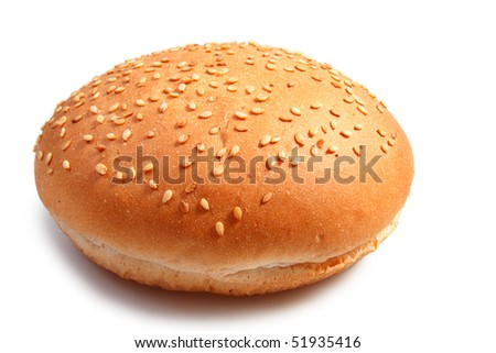 bun with sesame seeds on white background - stock photo