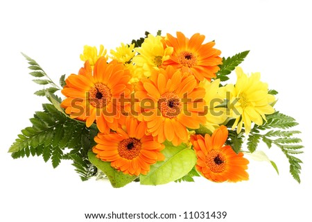 bunch  bouquet flower bloom orange yellow green leaf wedding nature isolated background - stock photo
