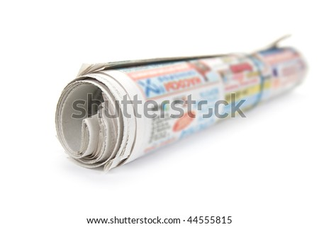 Bunch newspaper. Isolated on white background. - stock photo