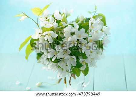 Bunch of apple blossoms in ain a jug on a blue wooden background.