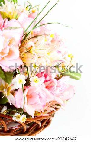 Bunch of artificial flowers closeup - stock photo