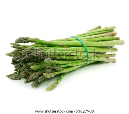 Bunch of asparagus isolated over a white background - stock photo