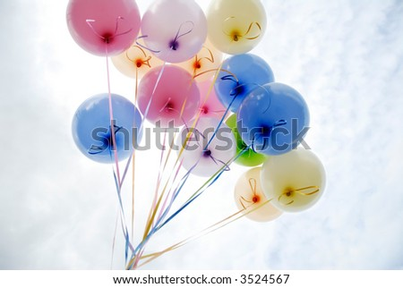 Bunch of balloons against the sky - stock photo