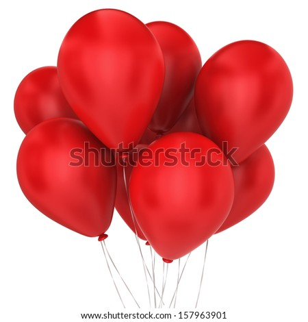 Bunch of balloons. 3d illustration on white background  - stock photo