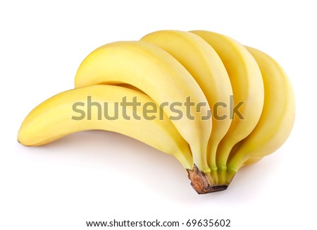 Bunch of banana fruits isolated on white background - stock photo