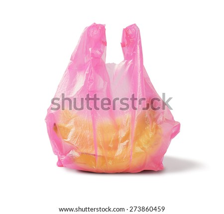 Bunch of Banana in Red Plastic Bag on White Background - stock photo