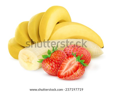 Bunch of bananas and several strawberries over white background, with clipping path - stock photo