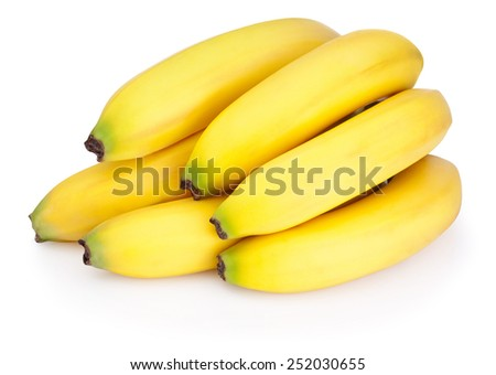 Bunch of bananas isolated on a white background - stock photo