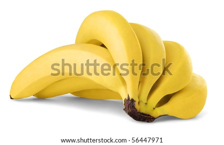 Bunch of bananas isolated on white - stock photo