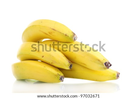 Bunch of bananas isolated on white