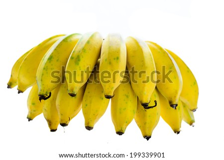 Bunch of bananas isolated on white background - stock photo