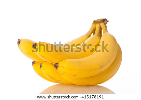 bunch of bananas isolated over white background - stock photo