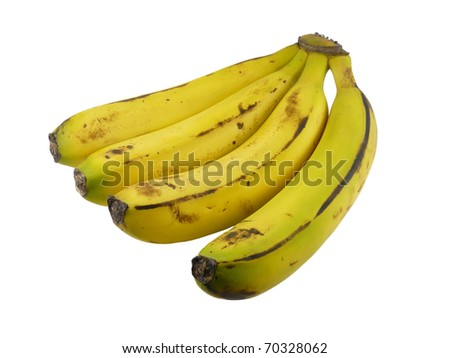 bunch of bananas on a white background - stock photo