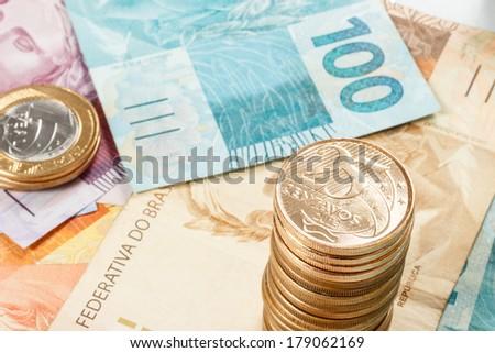 bunch of brazilian real money - stock photo